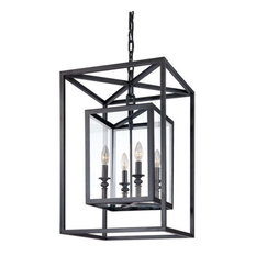 """Pendant 4-Light With Deep Bronze Hand Worked Wrought Iron 16"""" 240W"""