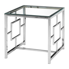 Silver Stainless Steel Living Room Glass End Table