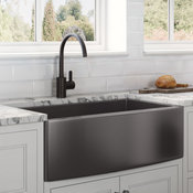 30-inch  Farmhouse Sink - Gunmetal Black Matte Stainless Steel - RVH9660BL