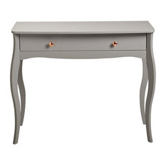Modern Dressing Table, Grey Finished MDF With Rose Gold Handles and 1-Drawer