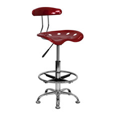 flash furniture vibrant wine red and chrome drafting stool with tractor seat office chairs asian office furniture