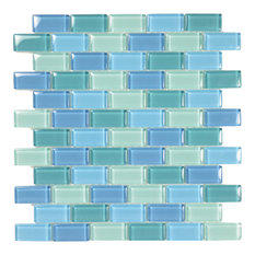 "12""x12"" Glass Tile Blends Crystal Series, Turquoise Blue Blend"