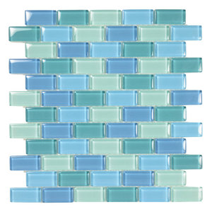 """12""""x12"""" Glass Tile Blends Crystal Series, Turquoise Blue Blend"""