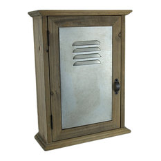 13 in. Wall Mounted Wood and Metal Locker Style Key Cabinet