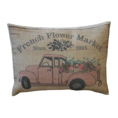 "French Pink Flower Truck Burlap Pillow, 12""x16"""