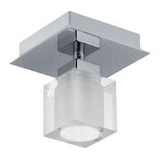 1x60W Ceiling Light, Matte Nickel & Opal Frosted Glass
