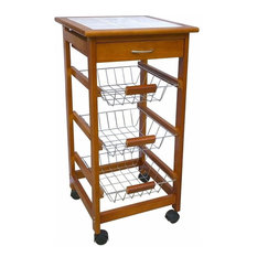 Modern Trolley Cart, Solid Pine Wood With Ceramic Worktop and Metal Baskets