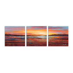 """""""Sunset Dreams I"""" Hand Painted Canvas Art, 60""""x20"""""""