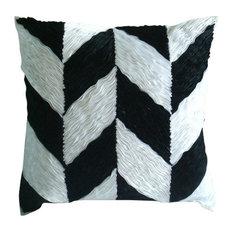 "Chevron Black Pillows Cover, Art Silk 12""x12"" Pillow Covers, Black N White"