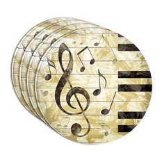 Vintage Piano With Treble Clef And Music Notes Acrylic Coaster, Set of 4