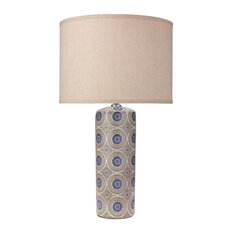 Fiona Table Lamp, Blue With Classic Drum Shade, Natural Linen