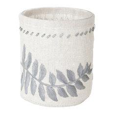 White Linen Silver Stitched Fern Votive, Small