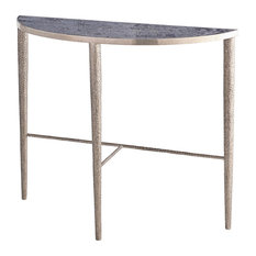Hammered Console Antique Nickel With Gray Marble