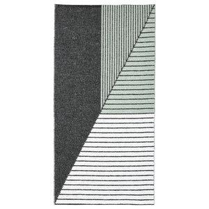 Stripe Woven Vinyl Floor Cloth, Green, 150x210 cm