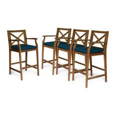 GDF Studio Short Outdoor Acacia Wood Barstools, Teak Finish/Blue, Set of 4