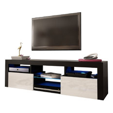 Bari 160 Wall Mounted Floating 63-inch TV Stand With LED Lights Black/White