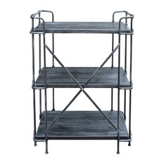 GDF Studio Denise Industrial Rustic 3-Tier Bookshelf Brushed Dark Gray/Pewter