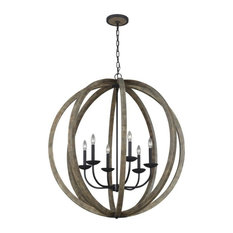 Allier 6 - Light Pendant Chandelier in Weathered Oak Wood / Antique Forged Iron