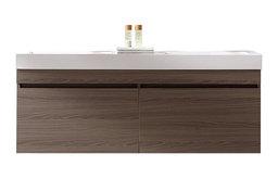 "Zuri 55"" Double Bathroom Vanity,Grey Oak,White Polymarble Top,Square SinkFaucet"