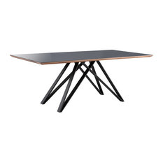 Urbino Mid-Century Dining Table Matte Black With Walnut & Dark Gray Glass Top