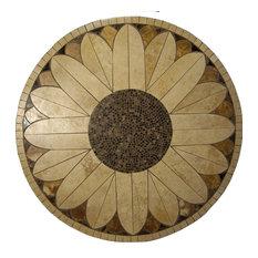 "Sunflower Mosaic Stone Round Coffee Table, 24"""