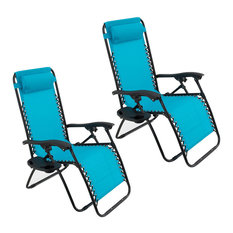 Zero Gravity Lounge Patio Chairs With Cup Holder, Set of 2, Sky Blue