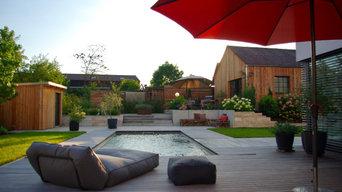 Moderne Gartenarchitektur mit stilvollem Materialmix