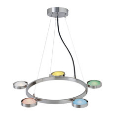 5-Lite Ceiling Lamp, Ps W Multi Glass Shade, 20Wx5 Jc Type