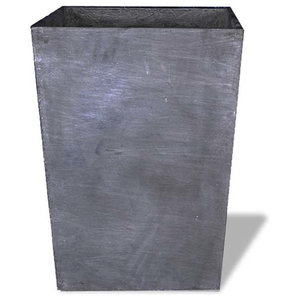 Tall Square Vase, Charcoal, 24x24x32, With Drainage Holes