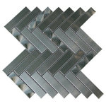 """Tilesbay - Arrowhead 3D Brushed Herringbone Mosaic, Sample - Arrowhead 1"""" x 4"""" Metal Mosaic Tile in Gray Features: -Floor/wall tiles.-Made with stainless steel.-3D Arrowhead brushed, herringbone.-Tile Type: Mosaic Tile.-Approved Applications: Wall Tile.-Product Use: Backsplash;Bathroom wall;Shower."""