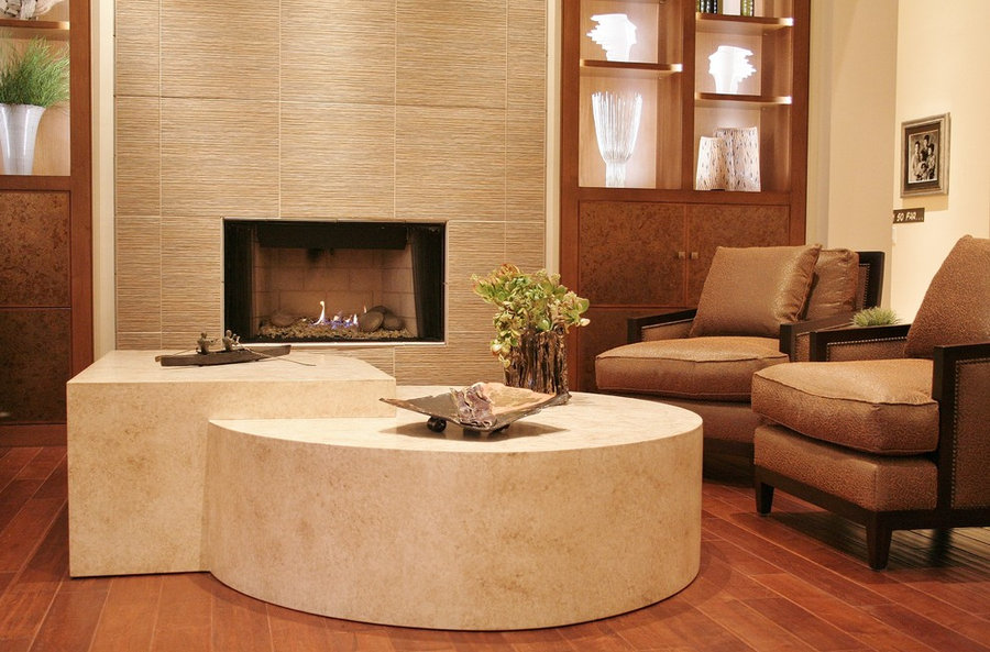 Close up Custom Table and Fireplace Wall