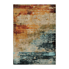 """Sedona 6365A Abstract Blue/ Red Area Rug, 2'3""""x7'6"""""""