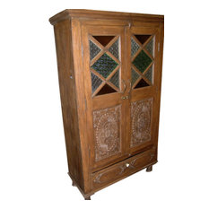 Mogul interior - Consigned India Cabinet Carvings Wooden Armoire Beautiful Hand Made Furniture - Armoires And Wardrobes