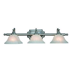 Dover Series Satin Nickel Interior Lighting Collection, 3-Light Vanity Wall Fixt