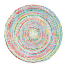Baby's Breath Braided Round Rug, Medium Blue 5'6""