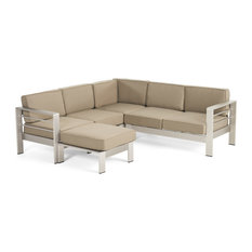 GDF Studio Emily Coral Outdoor 5-Seater V-Shape Sectional Set With Ottoman