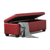 "48"" Elegant Leather / Linen Rectangular Storage Ottoman, Red"