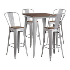 Rubber And Wood Table Set In Silver Finish CH-WD-TBCH-5-GG