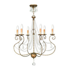 Chandelier With Clear Crystals, Hand-Applied European Bronze