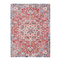 """Rumi Updated Traditional Dark Red, Bright Pink Area Rug, 3'11""""x5'11"""""""