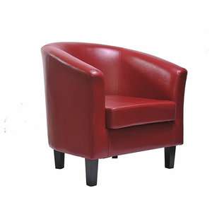 Contemporary Armchair, Faux Leather, Hardwood Legs and Cushioned Seat, Red