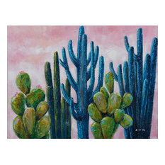 """""""Cactus in the Field"""" Hand Painted Canvas Artwork; Fine Art; Modern"""