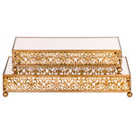 Amalfi Décor - 2-Piece Rectangular Mirror-Top Decorative Tray Dessert Stand Set, Gold - Dimensions: