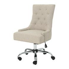 GDF Studio Bagnold Home Office Fabric Desk Chair, Wheat/Chrome