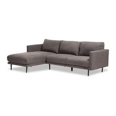 Riley Retro Gray Fabric Upholstered Left Facing Chaise Sectional Sofa