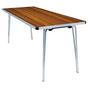 Contemporary Folding Table, Aluminium Frame and Teak Finished Laminated Wood