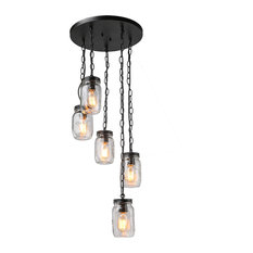 LNC 5-Light Chandeliers Spiral Glass Jar Ceiling Linear Kitchen Island Lighting