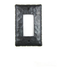 Rustic Rancho Style Hammered Iron Switch Plate Cover Single GFI EPH43, Black