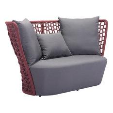 Zuo   Zuo Faye Bay Beach Sofa, Cranberry With Gray   Sofas