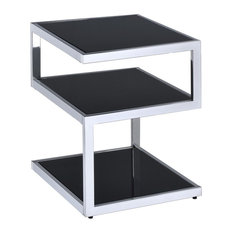 Acme Alyea End Table, Black Glass and Chrome